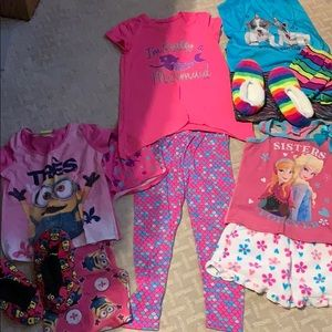 Other - Girl's Lot of 4 pajamas and slippers Size 8
